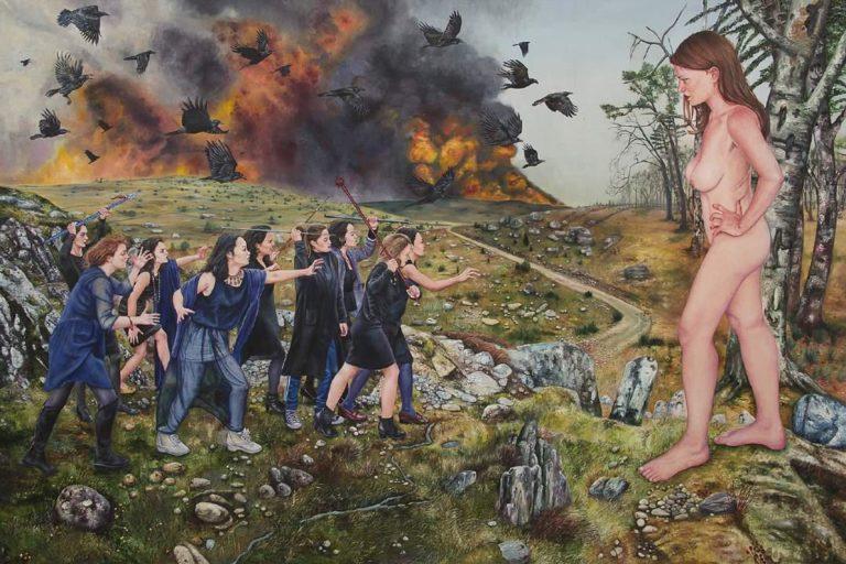 Nazanin Pouyandeh, Soulèvement des âmes noires , 2016, huile sur toile, 190 x 295cm